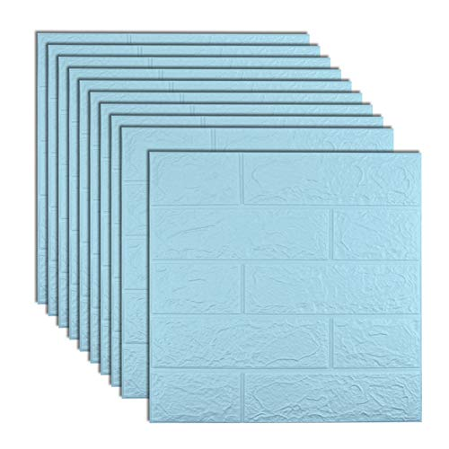 Sodeno 10 Pcs 3D Wall Panels, 3D Wallpaper Sticker with Self-Adhesive Waterproof Brick PE Foam Wall Panels for Interior Wall Decor, TV Wall,Bathroom, Kitchen, Living Room Home Decoration (Sliver-1)