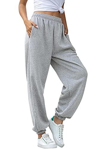 Tuopuda Pantalones de Deporte Mujer con Bolsillos Pantalones Chándal Mujer de Algodón Largos Jogging Pantalóns Elastica Cintura Alta Deportivos para Yoga Fitness Jogger Correr Casual(Gris,L)