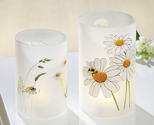 GILDE Teelichthalter Windlicht aus Glas Bienenwelt Tischlicht