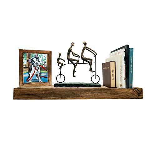 Darvish & Saints Rustic Floating Shelves [Solid Wood] - Natural Grain, Farmhouse Distressed, True Flush Hidden Brackets, Modern Barn Shelf, Livingroom, Kitchen [Set of 2, Espresso Walnut, 24x6x2in]