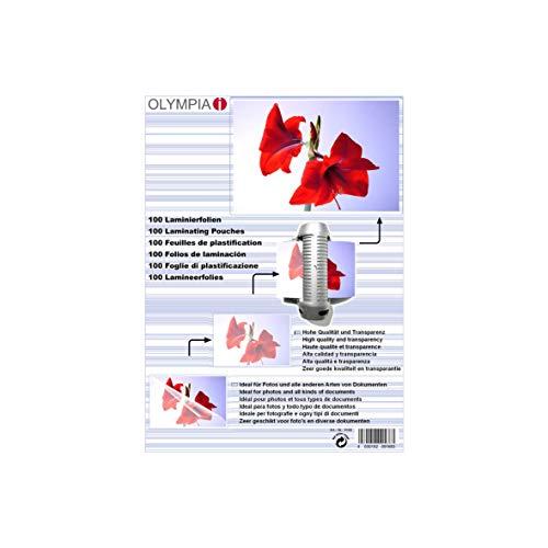 Olympia 9168; lamineerfolie; DIN A6; 80 mic; 100 stuks; glanzend/transparant; geschikt voor alle hete lamineerapparaten