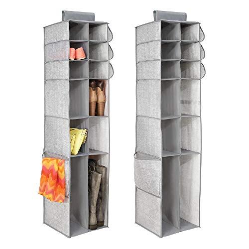 mDesign Set da 2 organizer per armadio – Pratico organizer verticale per vestiti, scarpe e accessori – Portaoggetti da appendere in tessuto con 16 scomparti – grigio