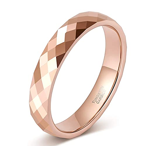 Zakk Anillo para mujer y hombre, oro rosa, negro, wolframio, estrecho, 4 mm de ancho, pulido, anillos de compromiso, alianzas, anillos de compromiso, Tungsteno.,