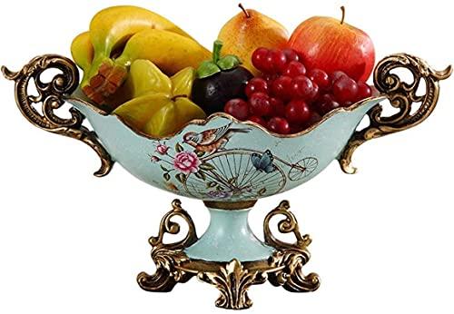Cesta de frutas y verduras, plato de frutas para aperitivos, bandeja de dulces de cerámica moderna, azul y blanco, chino, plato de frutas simple y creativo, sala de decoración de mesa de centro de