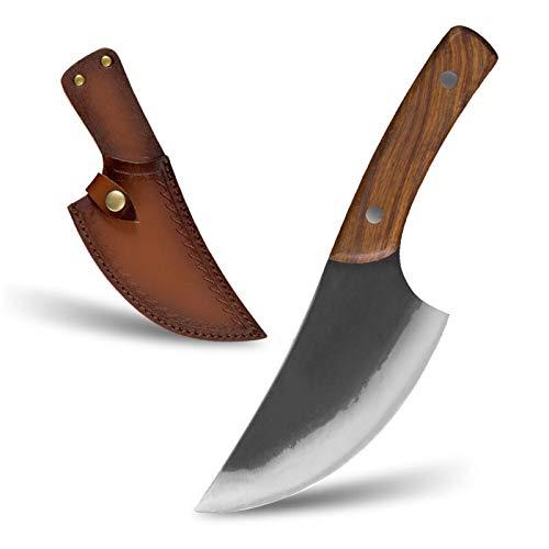 Cuchillos de chef Forjado hecho a mano de acero con revestimiento de 5,5 '' chef carnicero cuchillo de cortar la envoltura de cuero Cuchillo Carne de pescado al aire libre que acampa yendo de Herramie