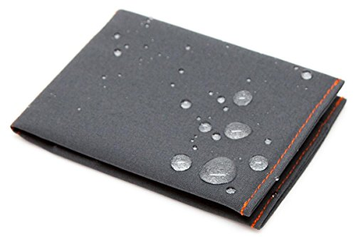 SlimFold Minimalist Wallet - Thin, Durable, and Waterproof Guaranteed - Made in USA - MICRO Size Charcoal with Orange Stitching