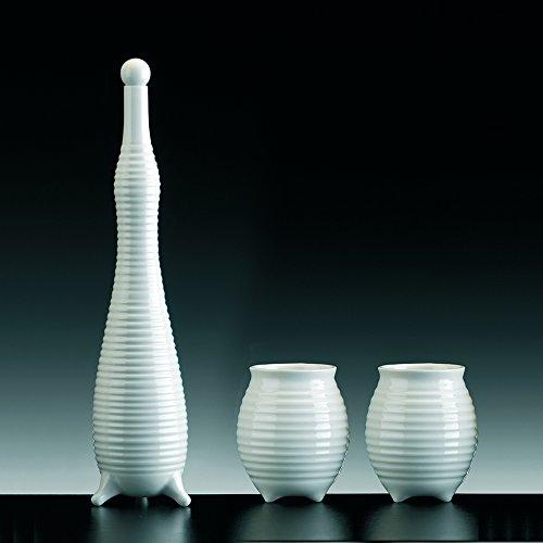 Joie la bouteille et verres à liqueur Porcelaine émaillée blanche ; SET de 2 gobelets avec BOTTIGLIA. fait à la main produits en design.