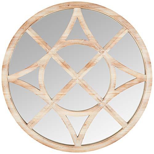 Stone & Beam clásico Brújula Espejo de Madera, 28' de Alto, Manchas claras