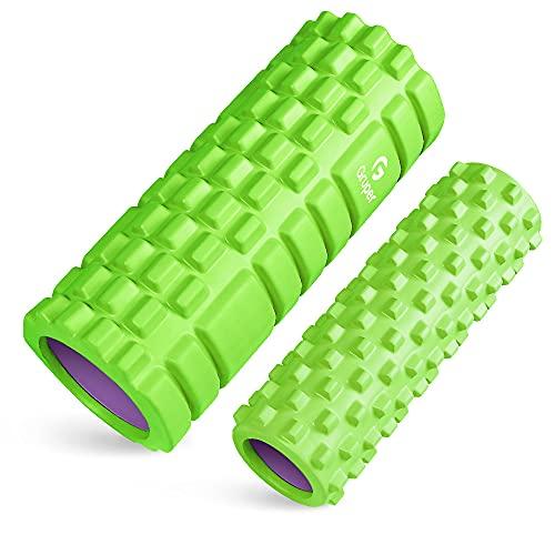 Gruperフォームローラー 筋膜リリース 大小2個セット 筋膜ローラー ストレッチローラー グリッドフォームローラー (グリーン+パープル)