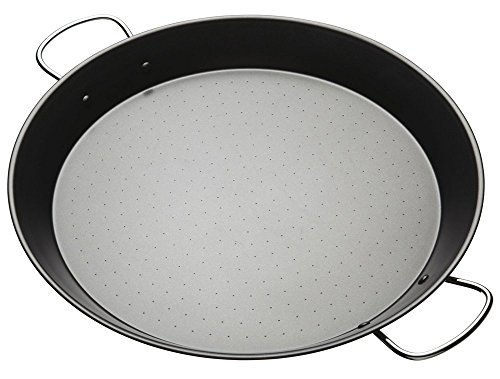 Kitchen Craft World of Flavours Mediterranean Cazo Antiadherente para Paella, Negro, Ø 38.5 cm