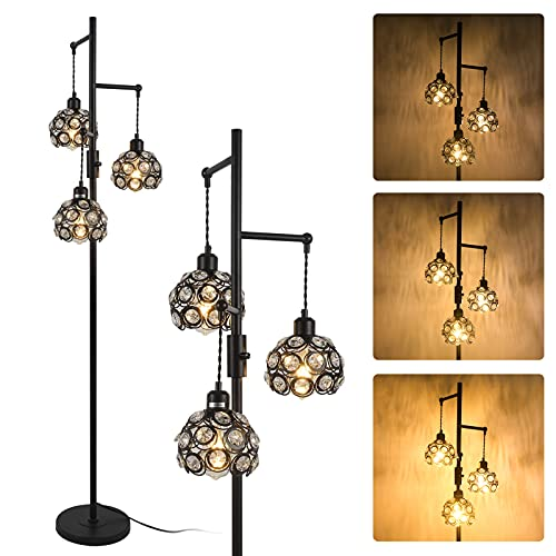 Stepeak Dimmable Tree Floor Lamp, Crystal 3 Light Tall Lamp Industrial Task Standing Light Sofa Light for Living Room, Bedrooms, Office 64 Inches