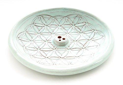Räucherstäbchenhalter Stäbchenhalter Blume des Lebens Ø 15 cm rund, Keramik türkis Halter zum Räuchern von Räucherstäbchen, Räucherzubehör
