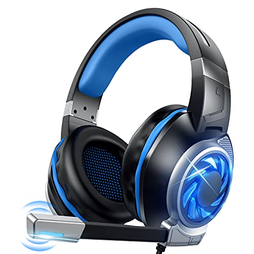 GOXMGO Video Game Headset,Gaming Over-Ear Headphone with Mic for PC Xbox One PS3 PS4 Nintendo Switch,Comfort Earmuffs/Noise Cancelling Mic/LED Light/7.1 Surround Sound/50mm Drivers/3.5mm Audio Jack