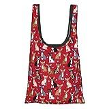 Faltbare wiederverwendbare Einkaufstasche, Einkaufstasche, umweltfreundlich, wasserabweisend, leicht, stark, Chihuahua, Sonnenbrille, Hund, Rot