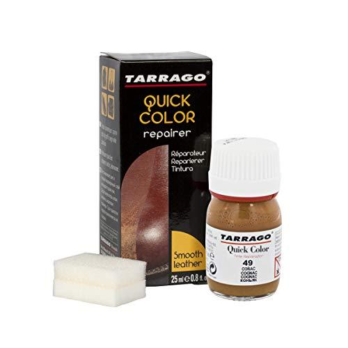 Tarrago   Couleur rapide 25 ml   Teinture pour chaussures en cuir, cuir lisse et toile et accessoires   Séchage rapide, répare et protège les chaussures contre les petites usures (Cognac 49)