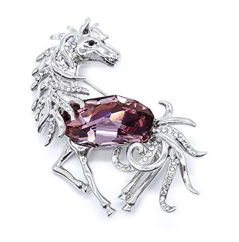 onweerstaanbaar1 Luxe Grote Paard Hengst Wit Goud Rhodium Broche Pin Met Echte Grote Roze Kwarts En Kleine Oostenrijkse Kristallen