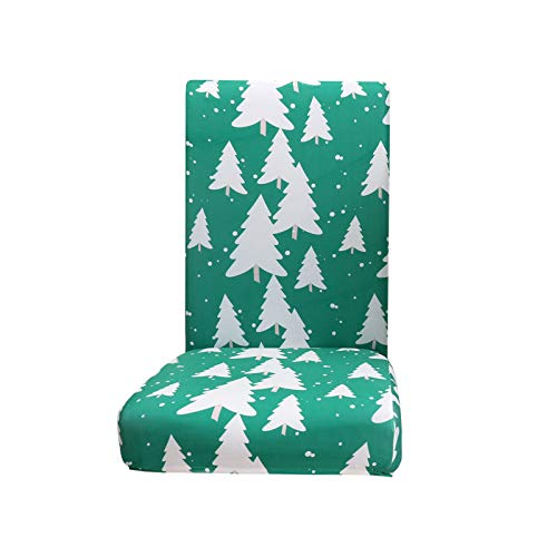 BBQQ Green Christmas Chair Cover Pattern Printed Milk Silk Seat Cover 1PC, Christmas Decorations Tree Ornaments Skirt Topper Lights Pajamas for Family