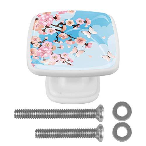 Juego de 4 pomos y tiradores cuadrados para armarios de cocina y baño, armarios, cajones, persianas, flores de cerezo, mariposas