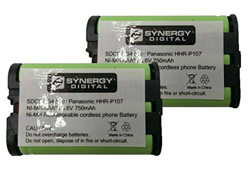 Synergy Digital Battery Compatible for Panasonic HHR-P107 Cordless Phone Combo-Pack includes: 2 x BATT-107 Batteries