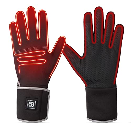 Savior Electric Heated Liners Gloves Men Women - Rechargeable Battery Heating Thin Gloves for Ski Snowboard Motorcycle Driving Riding Cycling Hiking Hunting Cold Hand Warmer (XS/S)