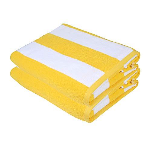 Sweet Needle Toallas de Playa Toallas de Playa Rayas Amarillas – Pack de 2 (76 x 152 cm) – 100% algodón Hilado en Anillo, Peso Pesado (450 g/m²) y Muy Absorbente (Rayas Amarillas y Blancas)