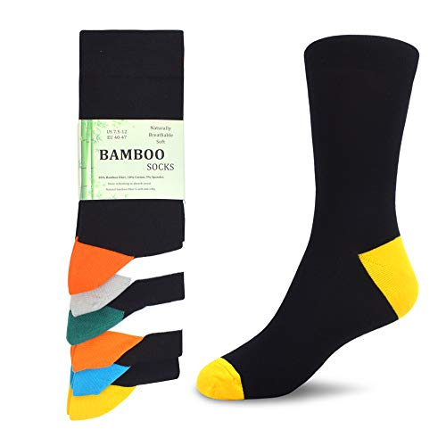 WeciBor Calcetines de fibra de bambú para hombre, pack de 6 unidades, transpirables, supersuaves, lujosos, informales, para hombre De077-60 L