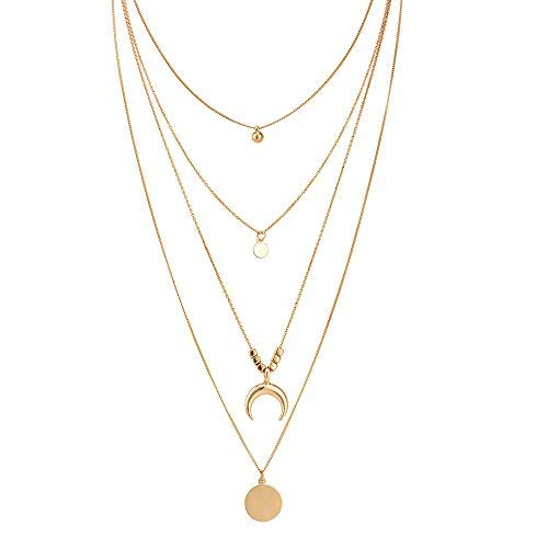 Ginkago Damen-Halskette, mehrreihig, Mond-Anhänger, lange Halskette, mehrreihig, Dekoration