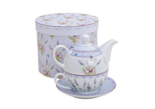 Juego de té con diseño de lavanda para una persona, tetera, taza de té y platillo, de porcelana en caja de regalo, taza de diseño, taza con asa, taza y platillo para beber té