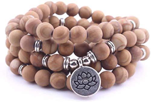 HYJMJJ Pulsera Feng Shui Bead Pulsera Budista Pulseras de Piedra de Grano de Madera Natural Lotus Buddha Colgante Árbol de Vida Collar de Yoga Pulsera de Abalorios de Amuleto (Size : Tree of L