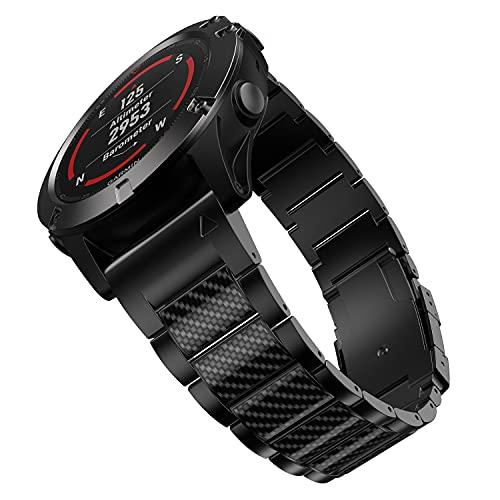 BaiHui チタンバンド Fenix 6X / 6X Pro / 5X / 5X Plus スマートウォッチに対応 26mm クイックリリース チタン腕時計バンド ブラックカーボンファイバーインレーストラップ Garmin Fenix 3 / 3 HR / Descent Mk 1用