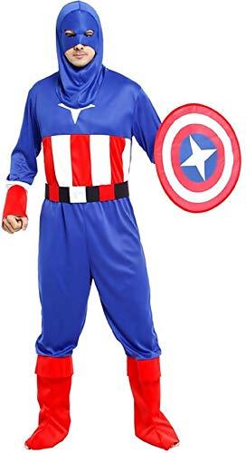 M - l - one size - kostuum - vermomming - carnaval - halloween - captain america - superheld - blauwe kleur - volwassenen - man - jongen