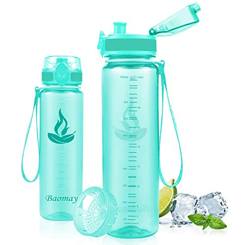 Baomay Botella de Agua Deportiva 500ml, Adultos/Niños Bottle con Filtro, Bidon de Bebidas Plástico Tritan, para Gimnasio, Ciclismo, Trekking | Sin-BPA & Impermeable & Reutilizable (Transparente-menta)