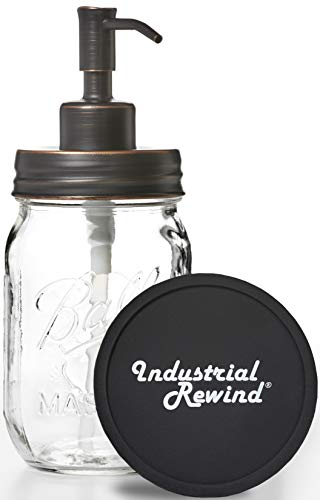 Mason Jar Soap Dispenser Pump with Non-Slip Coaster, 16oz Clear Pint Glass with Oil Rubbed Bronze Dispensing Lid, Rustic Farmhouse Bathroom and Kitchen Decor