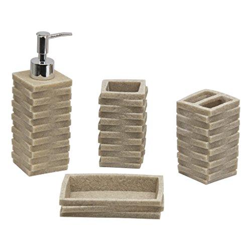 Juego de accesorios para baño de 4 piezas: Dispensador de Loción, Jabonera, Soporte y Vaso - Color Crema