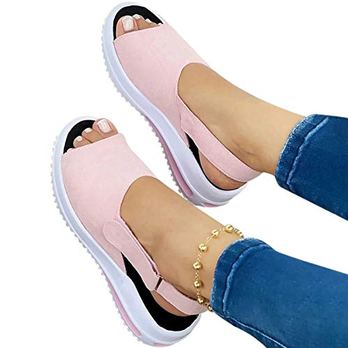 Goutui Women's Beautiful Shoes 2021 Fashion Fish Mouth Flat-Heeled Beach Ladies Sandals Casual Slope Female Sandals