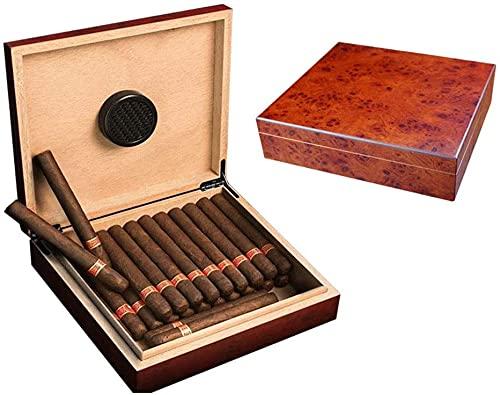 MZDJDM Desktop Humidor Case für 25-50 Zigarren, Qualität Braun, Handgefertigte Aufbewahrungsbox aus spanischem Zedernholz mit Teiler-Luftbefeuchter, Herren-Geschenkbox