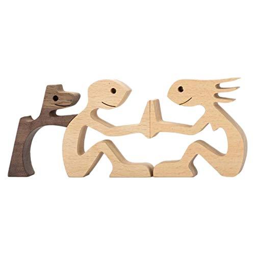 Welpen Holzschnitz Ornamente, Familie Welpen Holz Schnitz Ornamente Handwerk, natürliches Massivholz langlebig und stark, Dekoration Geschenk für Home Office Desktop