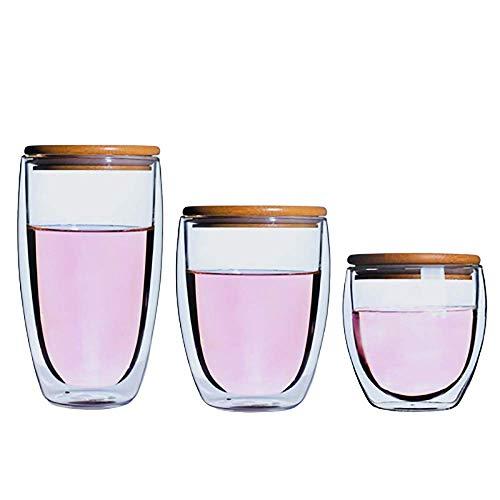 JALAL Doppelwandige Kaffeetasse, Hitzebeständiges Glas, Transparenter Borosilikatbecher Für Cappuccino, Latte, Tee, Milch, Bier, Saft (300 Ml, 400 Ml, 500 Ml)