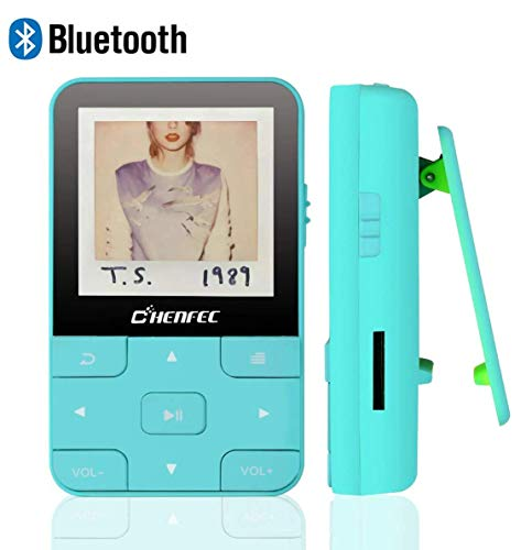 CFZC Clip MP3 Player mit Bluetooth 4.1 16 GB Verlustfreier Sound Musik-Player mit FM-Radio Voice Recorder Video Kopfhörer zum Laufen, Unterstützung von bis zu 128 GB