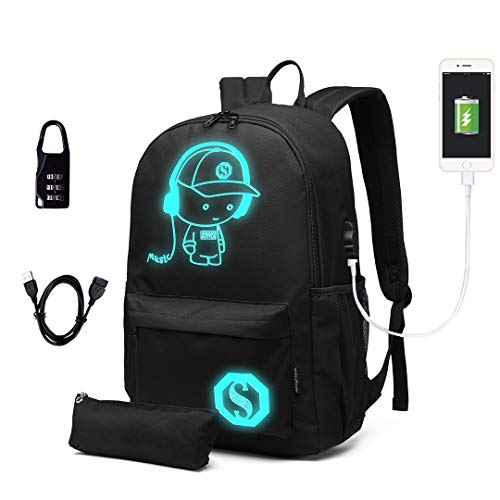 Kono School Backpack Durable 15.6 inch Laptop Rucksack,Waterproof College Anime Luminous Daypack Glow in The Dark (Black Set)