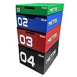 METIS Cajas de Salto Pliométricas de Espuma Suave Caja de Crossfit para Casa o Gimnasio | Jump Box para Entrenamiento | Conjunto de Cajones de Salto para Pliometría (45cm (Rojo))