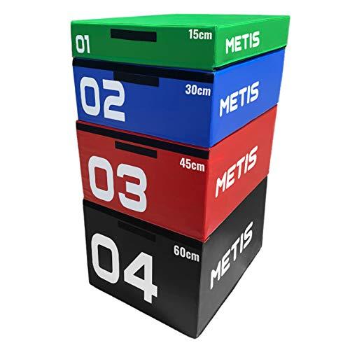 METIS Plyo Box Set | Stapelbare Plyo Boxen - Heimtraining & im Fitnessstudio | Hochwertige Soft Foam Jump Box | 15cm/30cm/45cm/60cm/Set von 4 (Set von 4)