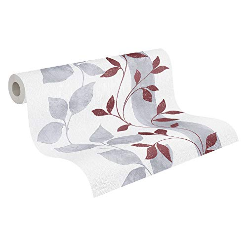 A.S. Création Vliestapete Paloma Tapete floral 10,05 m x 0,53 m grau rot Made in Germany 300925 30092-5