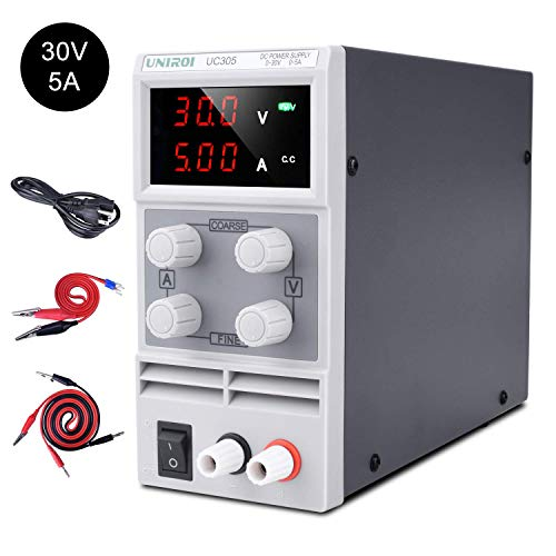 UNIROI DC Power Supply Variable 30V 5A DC Bench Power Supply with 3-Digit LED Display, Alligator Clip Leads (Banana Plug and Spade Lugs), Input Power Cord UC305