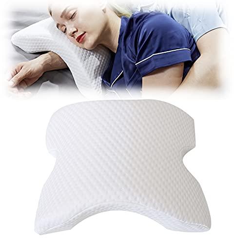 Dalina Textil Almohada Viscoelástica en formada Arqueada con Espuma de Memoria de presión para Alivio de Cervical(Almohoda para Cervical)
