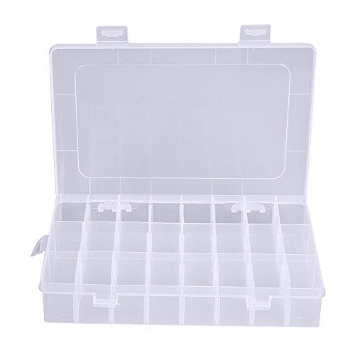 Demiawaking 24 Fächer Kunststoff Schmuck Pillen Box Organizer Vorratsbehälter Weiß