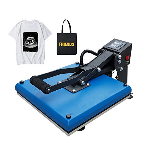 Heat Press 15x15 Heat Transfer Sublimation Heat Press Machine for T Shirts and HTV Vinyl Projects, Blue