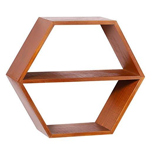 Cratone Hexagonales baldas Pared de Madera, Estante de Pared Retro Hexagonal, Estantes Colgantes para Sala de Estar Dormitorio 25,5 x 15 x 10 cm (marrón)