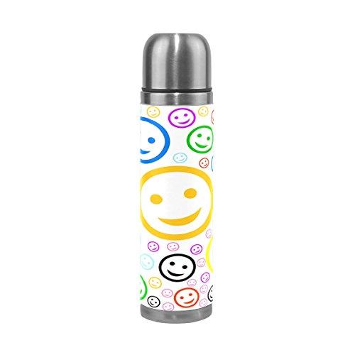 Alaza Colorful Emoji-doppelwandig Wasser Flasche Vakuum Isoliert Thermoskanne echtem Leder verpackt 17Oz