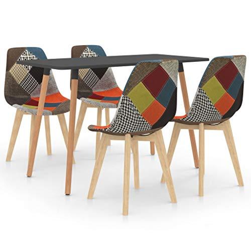 vidaXL Juego de Comedor 5 Piezas Muebles Mobiliario Exterior Hogar Cocina Terraza Silla Mesa Asiento Suave Decoración Moderno con Respaldo Multicolor
